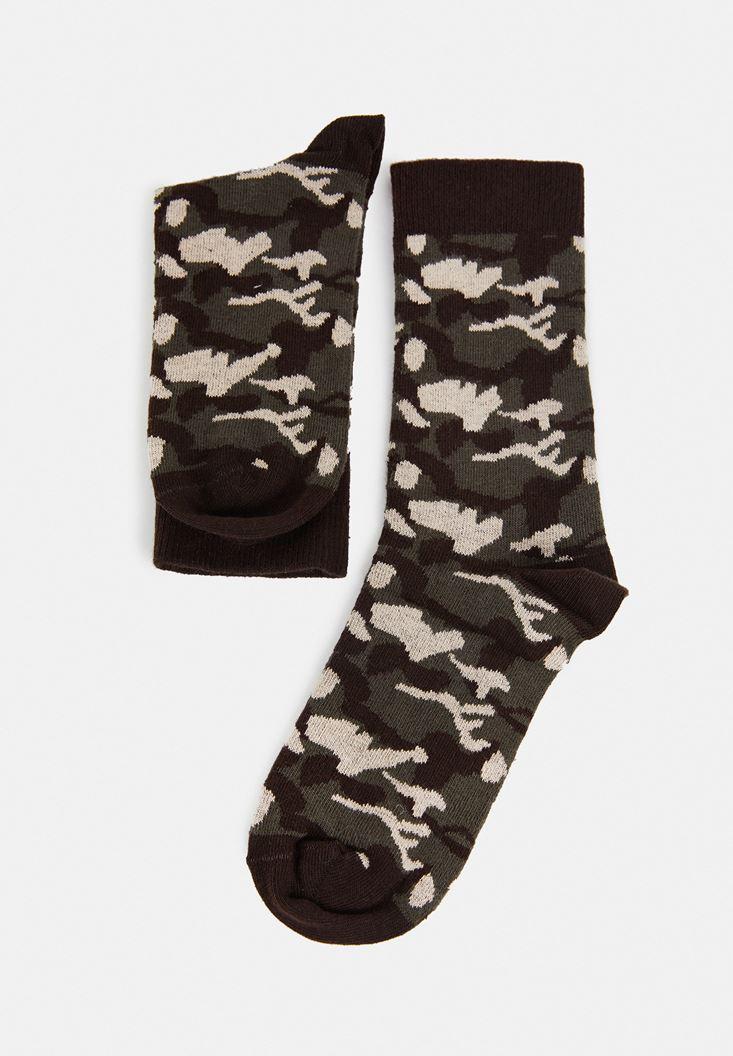Yeşil Kamuflaj Desenli Çorap