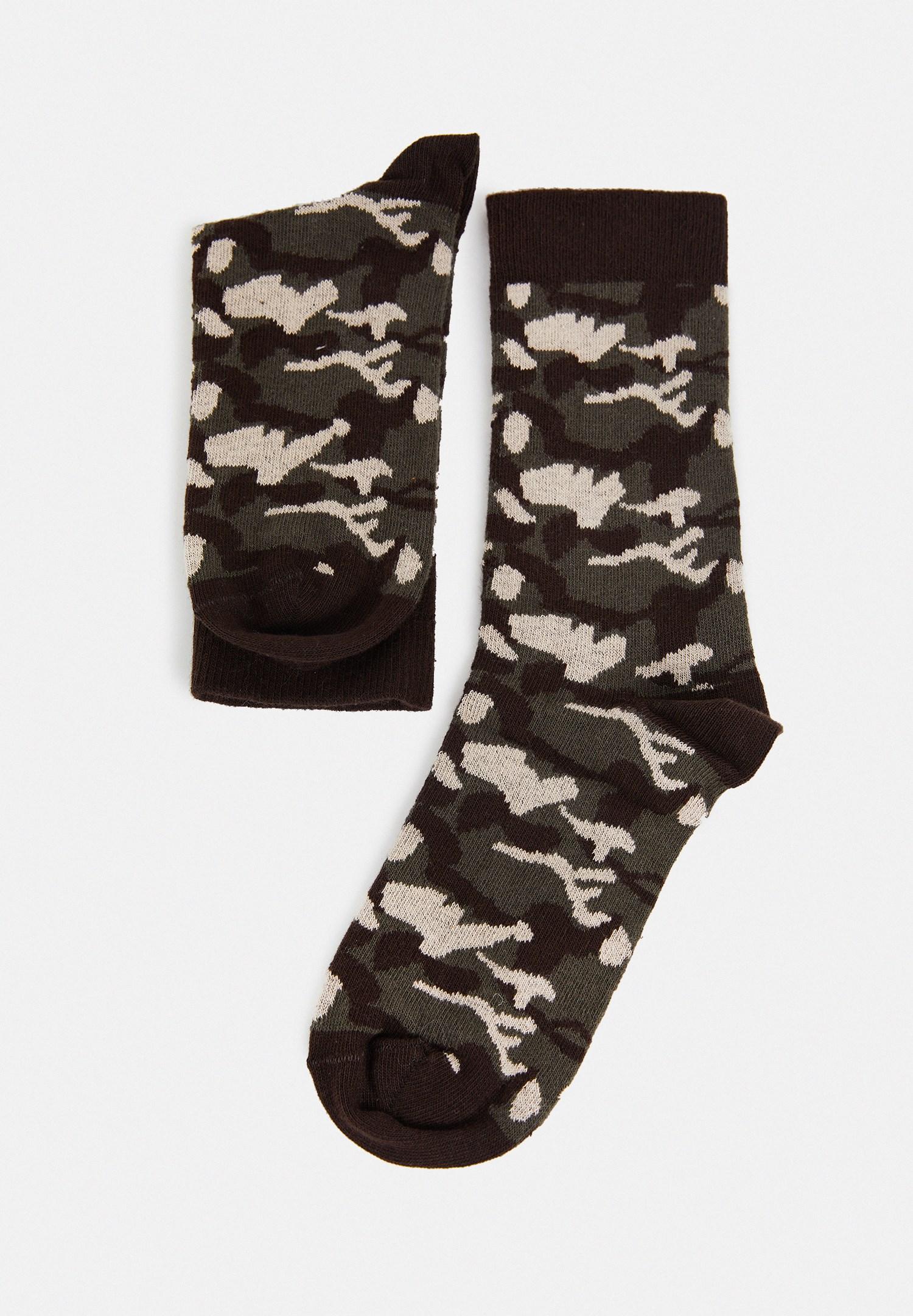Bayan Yeşil Kamuflaj Desenli Çorap