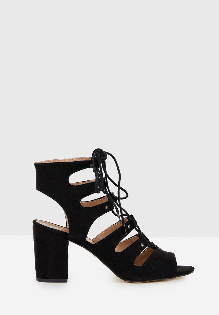 Black High Heel Shoe with Lace Up