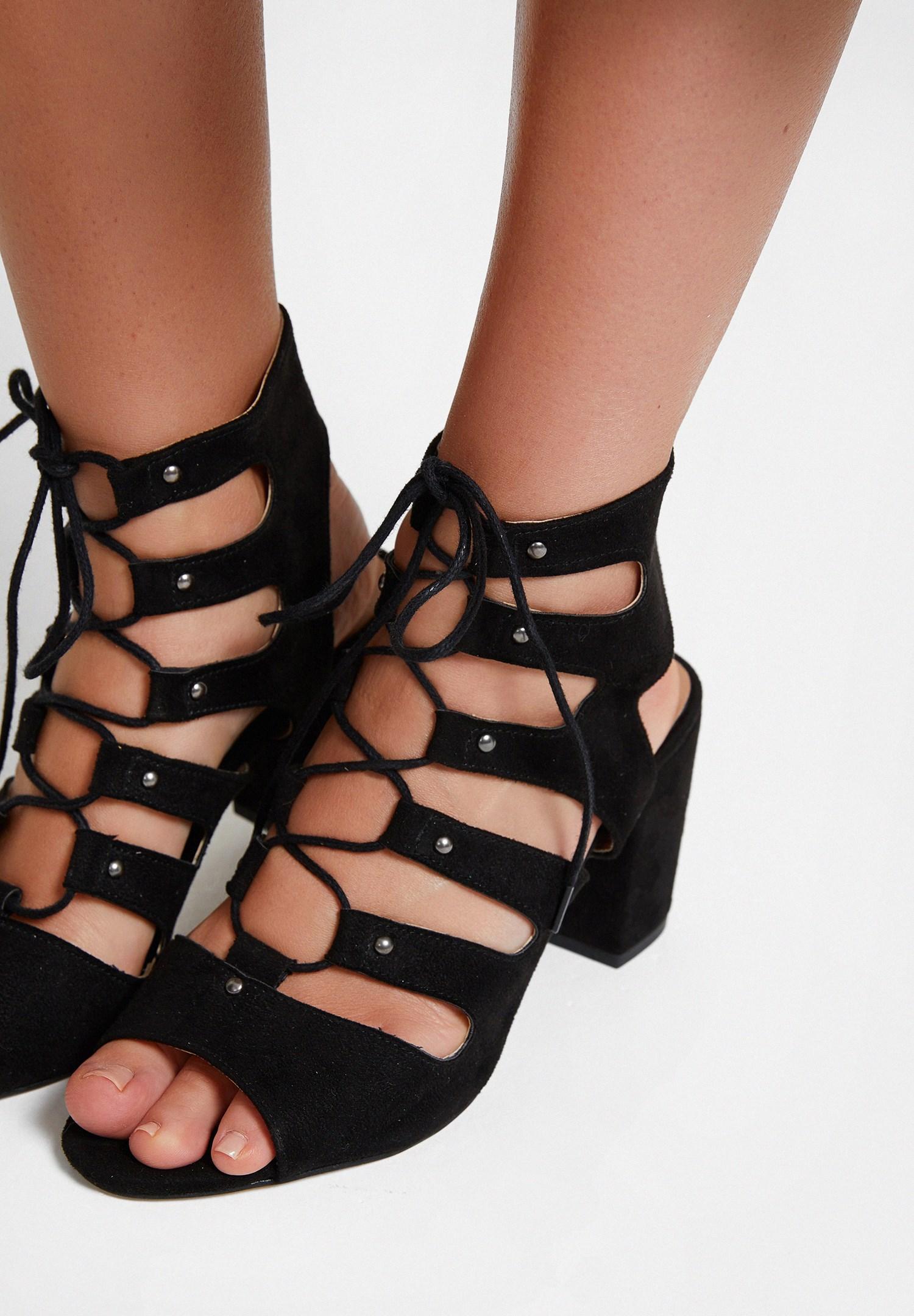 Bayan Siyah Lace Up Detaylı Topuklu Ayakkabı
