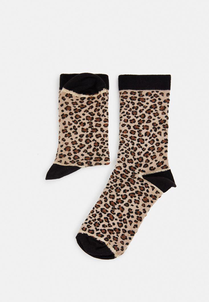 Çok Renkli Leopar Desenli Simli Çorap