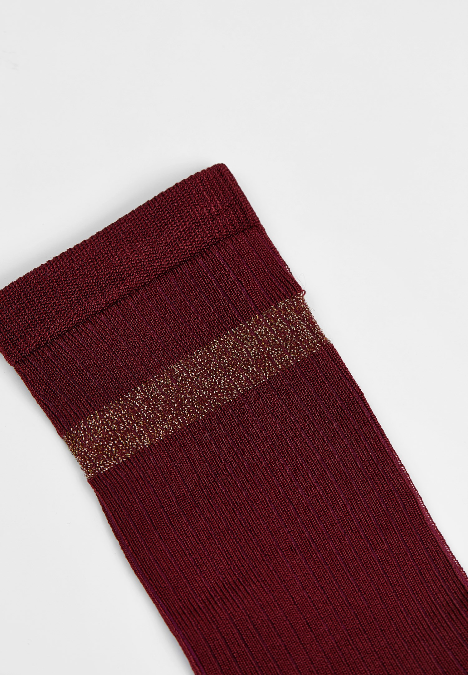 Women Bordeaux Socks with Shiny