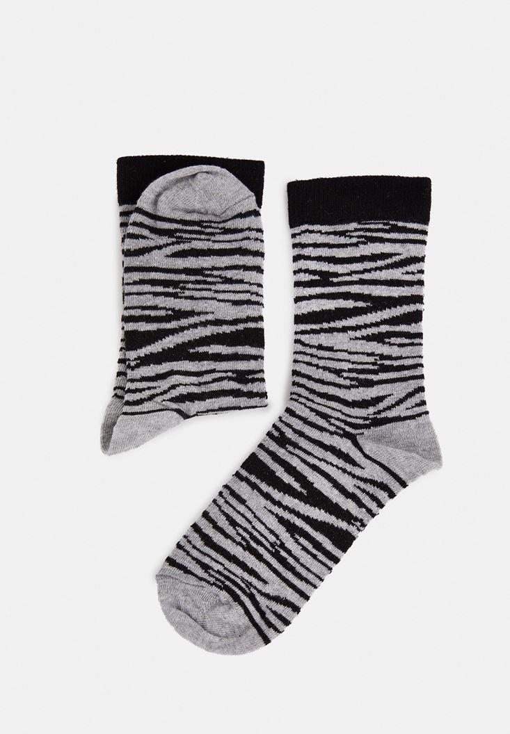 Çok Renkli Zebra Desen Çorap