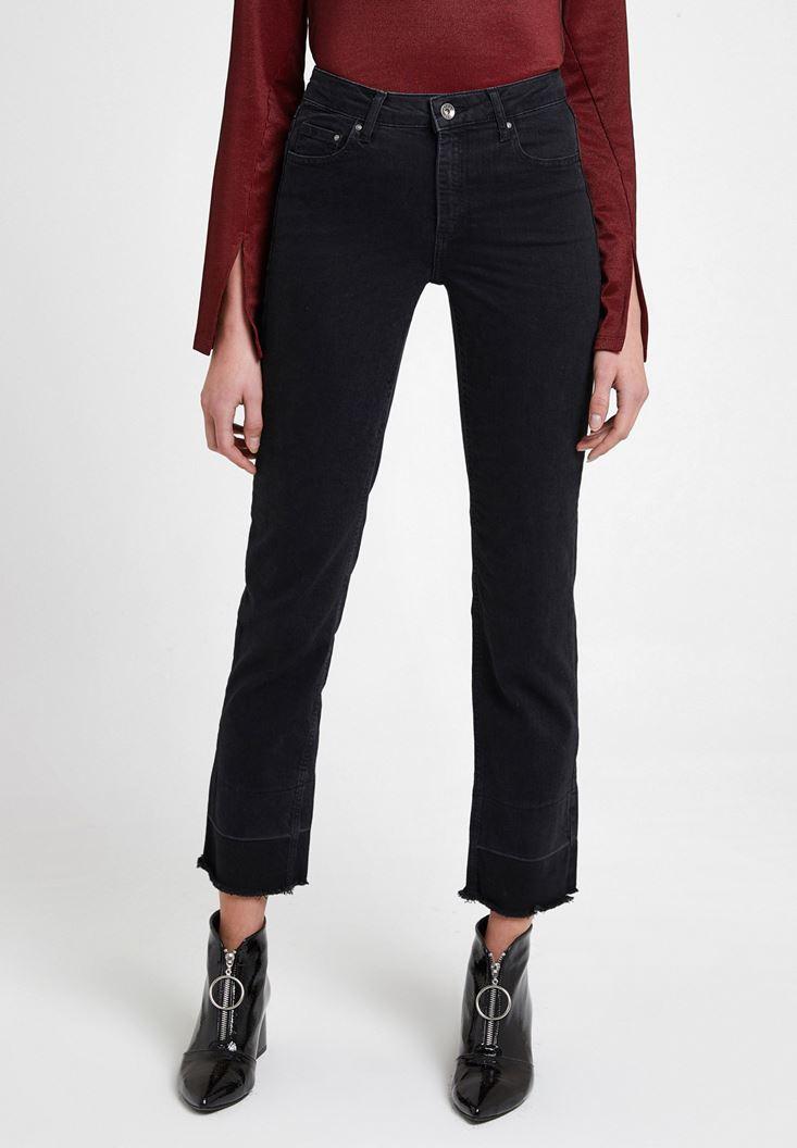 Siyah Yüksek Bel Crop Straight Jean