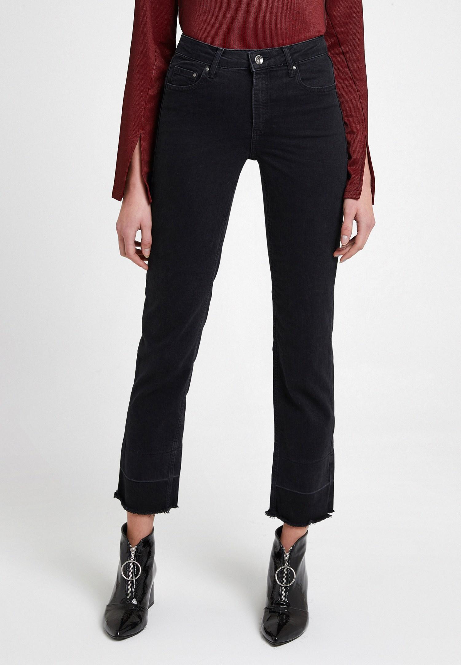Bayan Siyah Yüksek Bel Crop Straight Jean