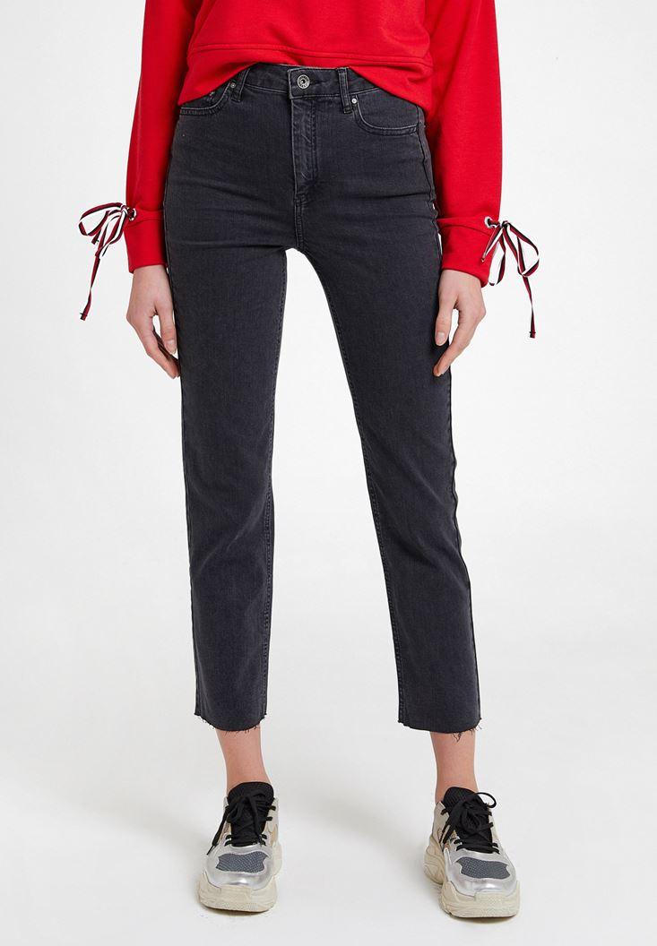 Gri Yüksek Bel Crop Straight Jean