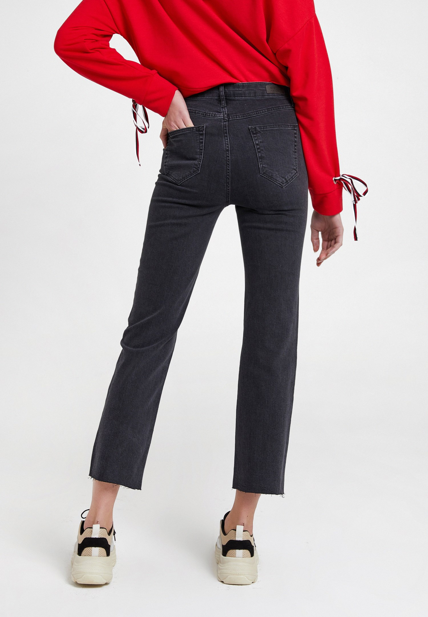 Bayan Gri Yüksek Bel Crop Straight Jean