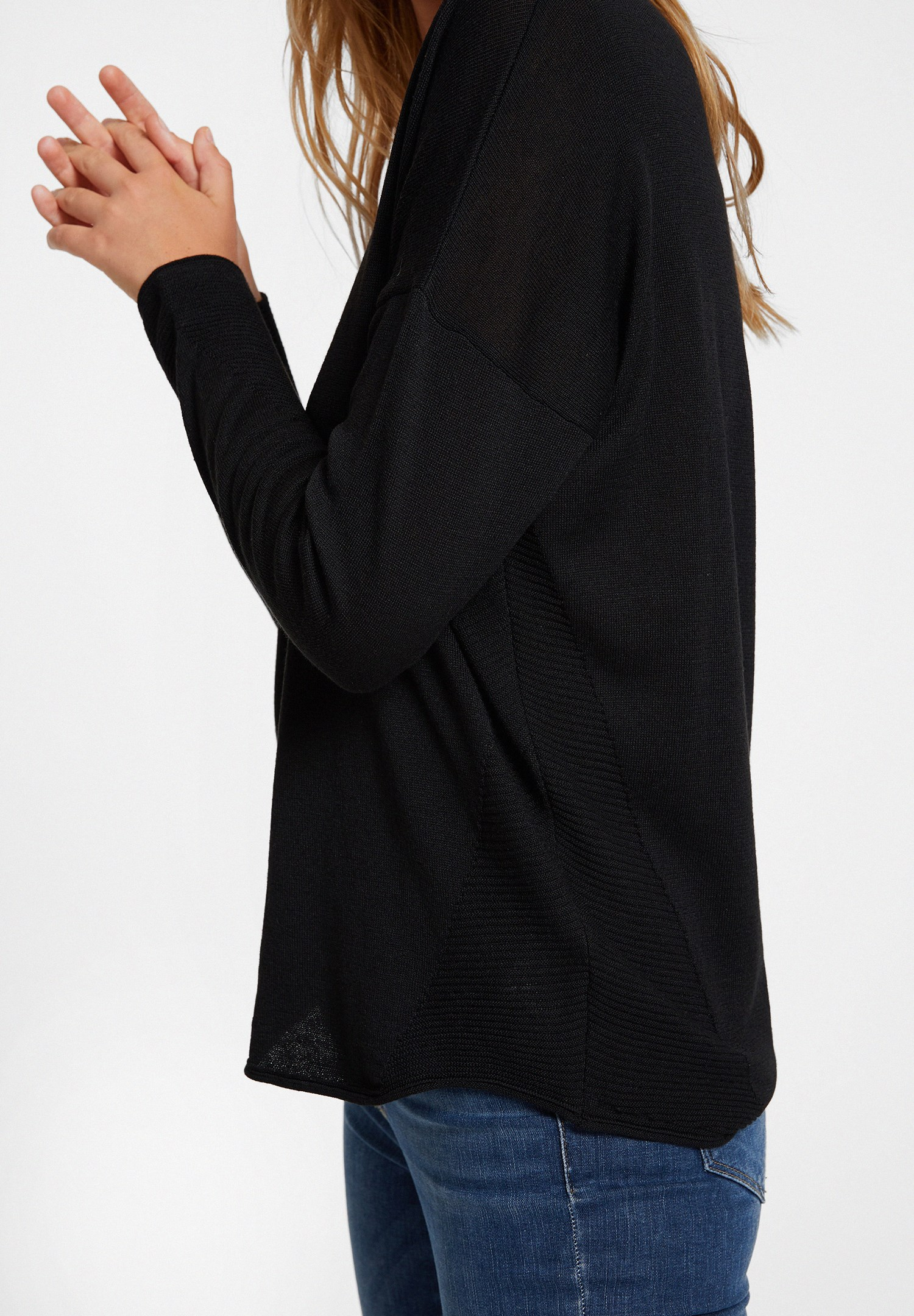 Women Black Knitwear with Side Details