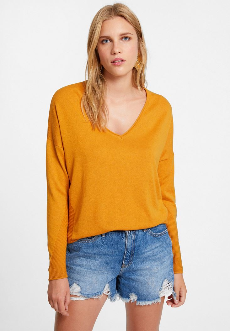 Orange Knitwear with Side Details