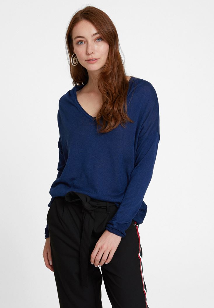 Navy Knitwear with Side Details