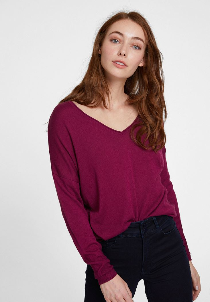 Bordeaux Knitwear with Side Details
