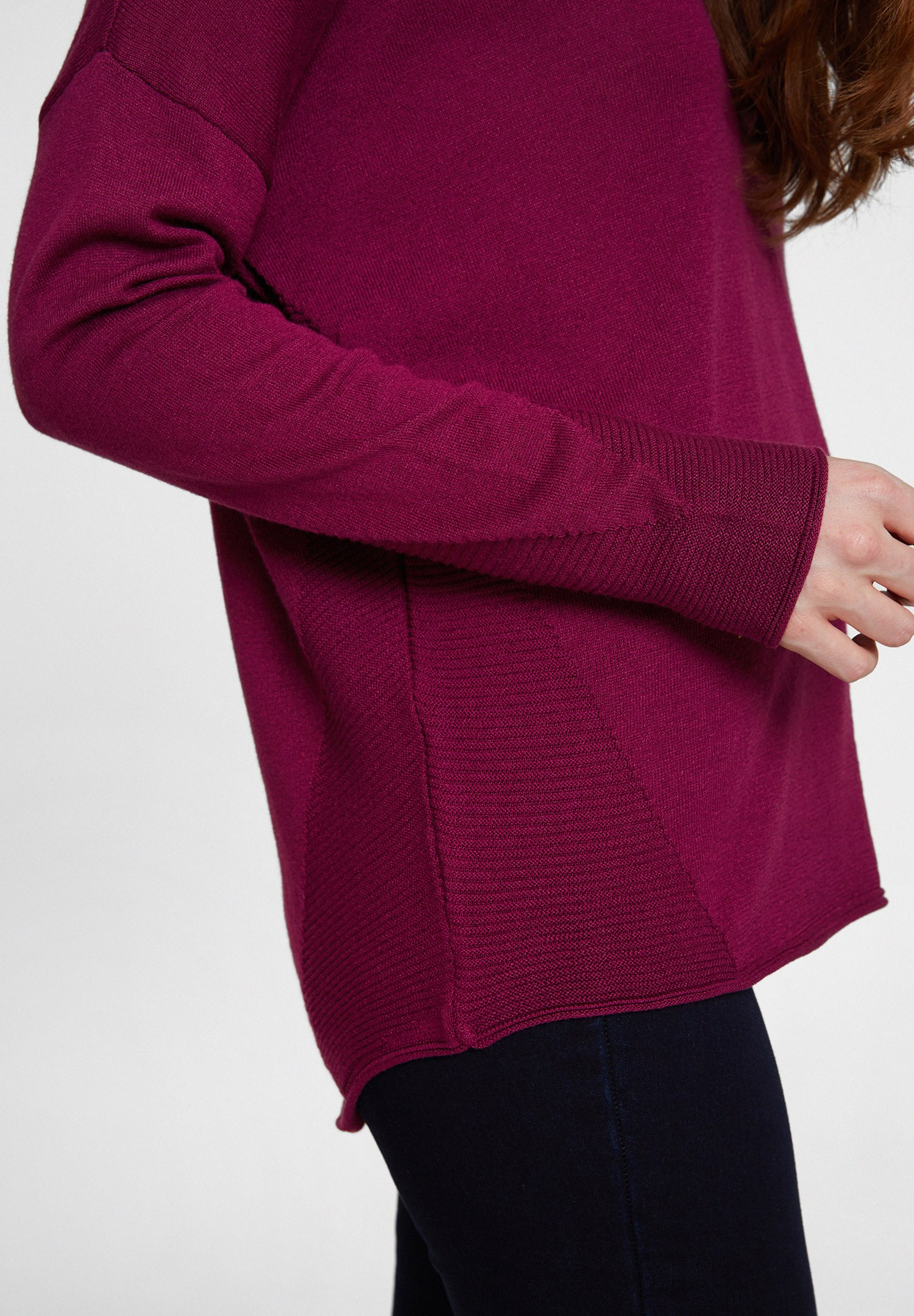 Women Bordeaux Knitwear with Side Details