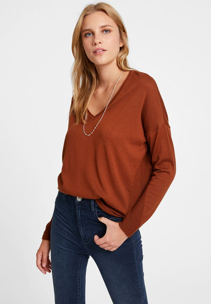 Brown Knitwear with Side Details