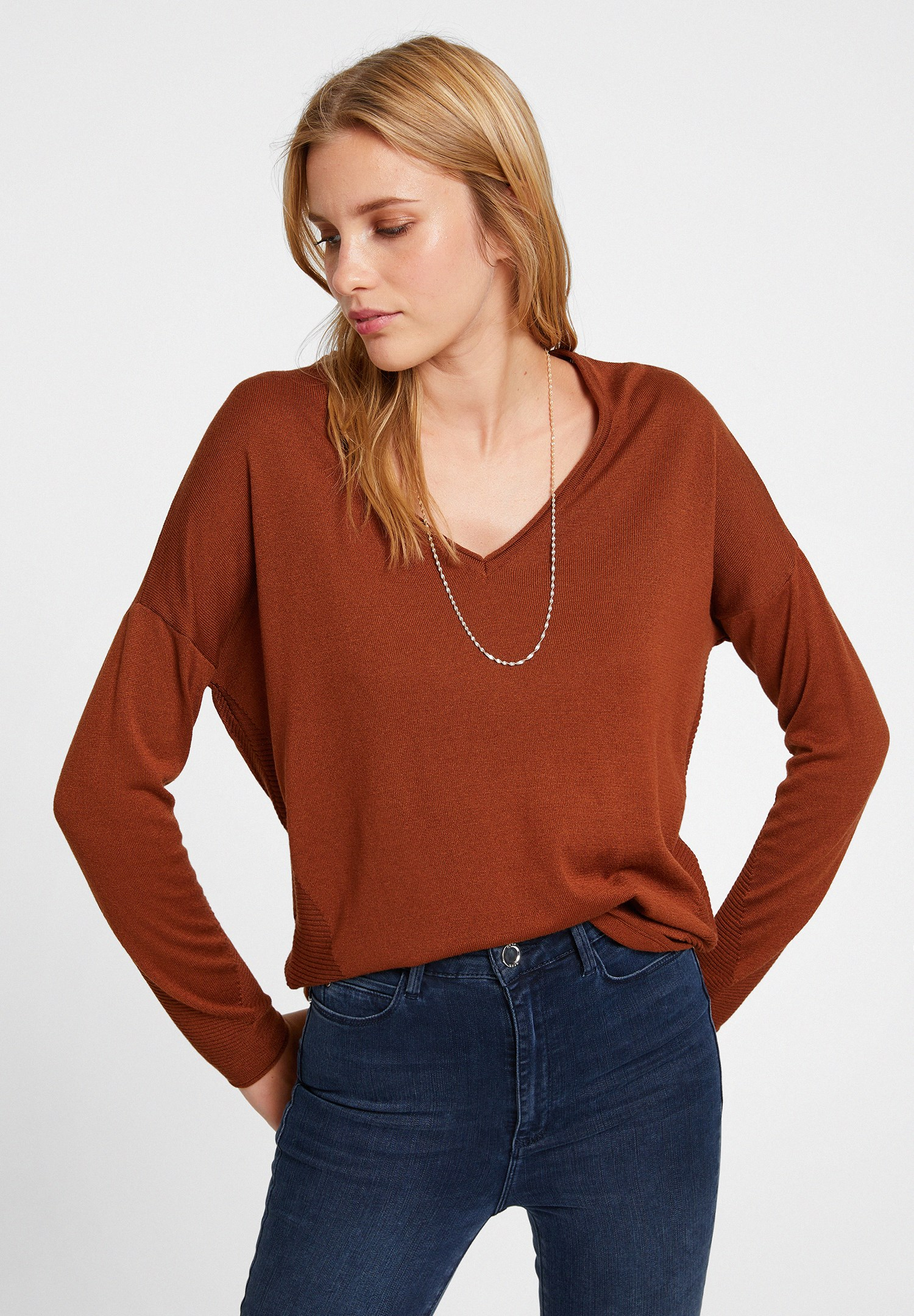 Women Brown Knitwear with Side Details