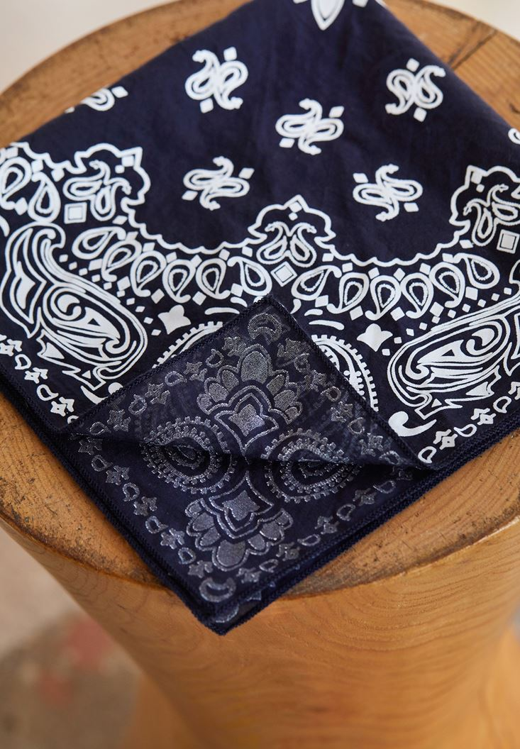 Navy Printed Scarf with Detail