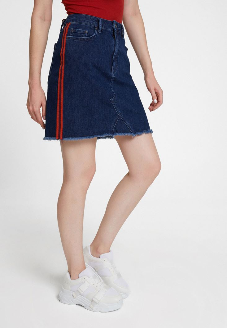 Blue Denim Skirt with Stripe Details