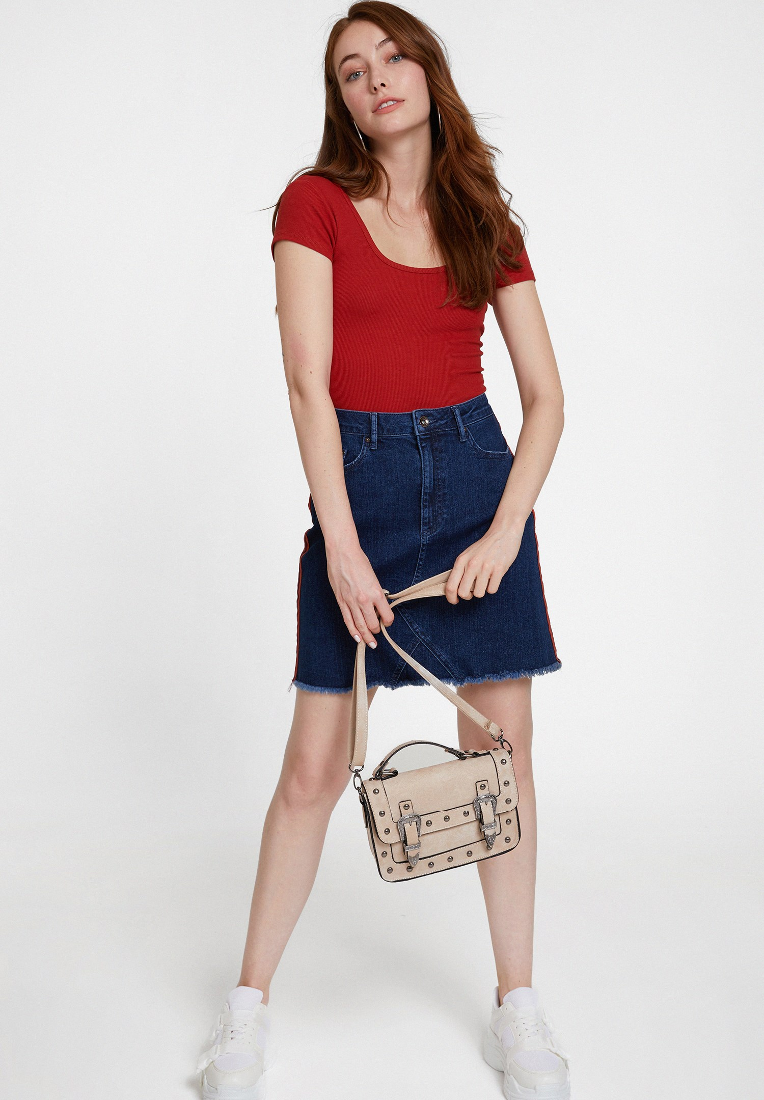 Women Blue Denim Skirt with Stripe Details
