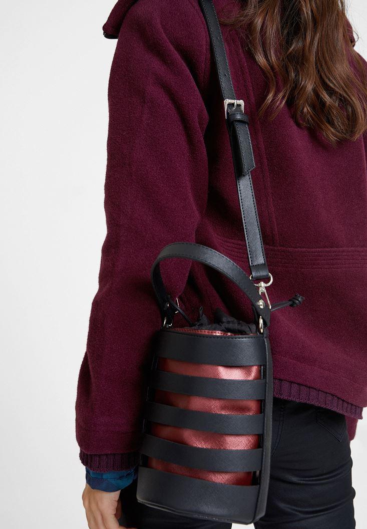 Bordo Cut Out Detaylı Askılı Çanta