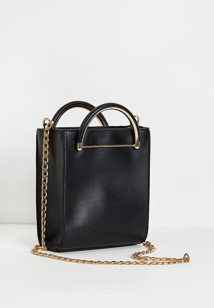 Siyah Zincir Askılı Kutu Çanta