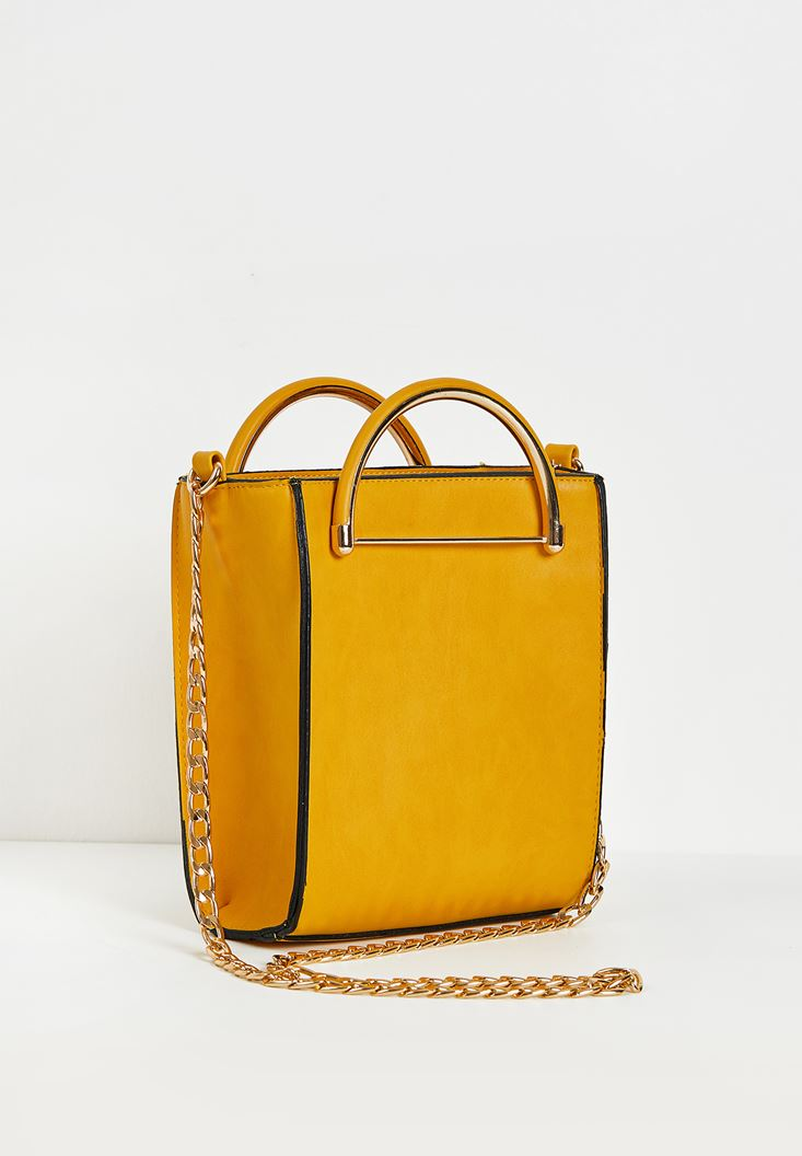 Yellow Box Shape City Bag