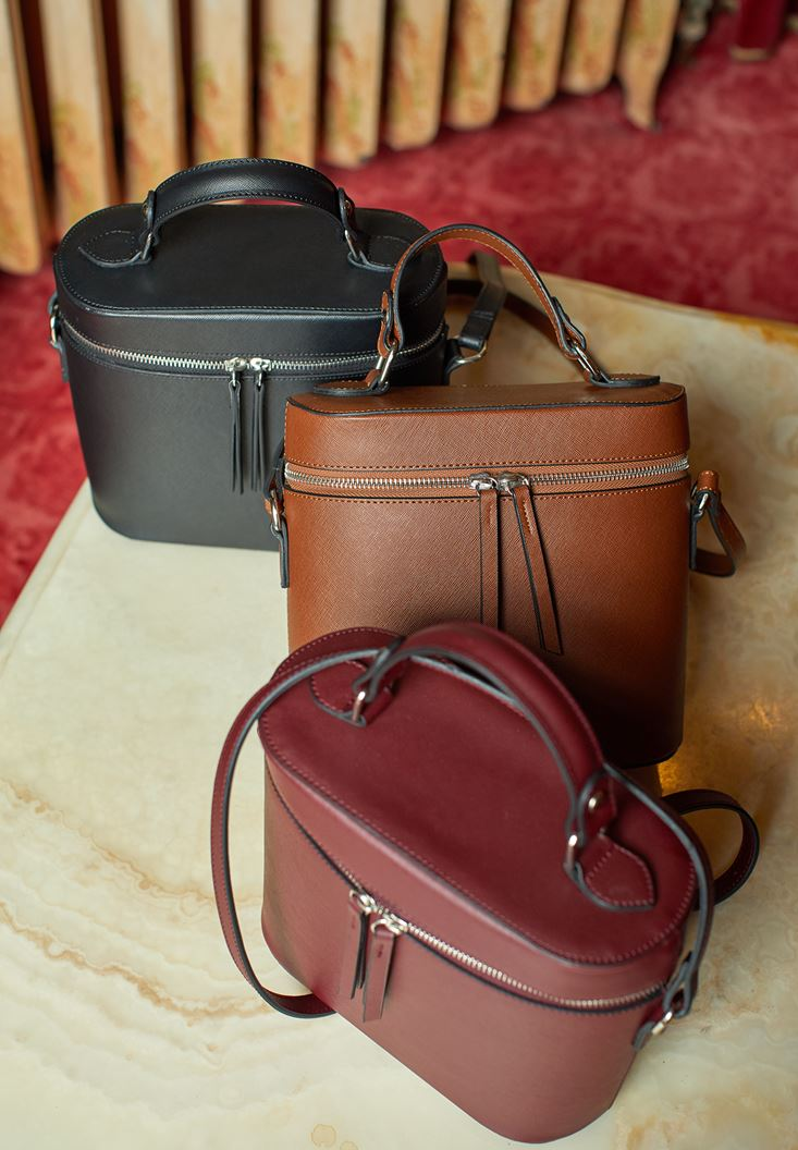 Kahverengi Fermuar Detaylı Kutu Çanta