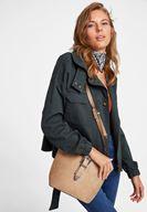 Women Cream Suede Shoulder Bag
