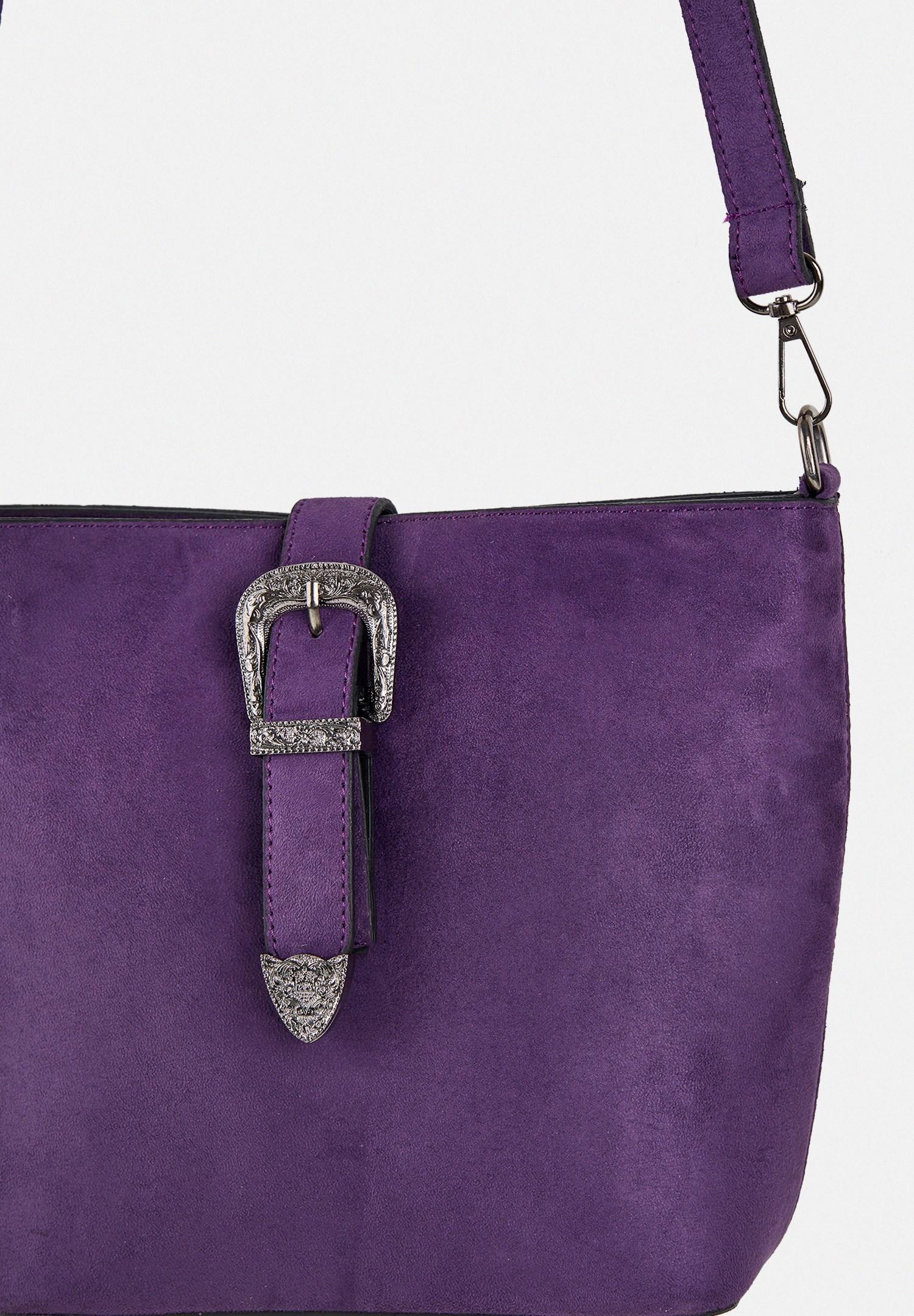 Women Purple Suede Shoulder Bag