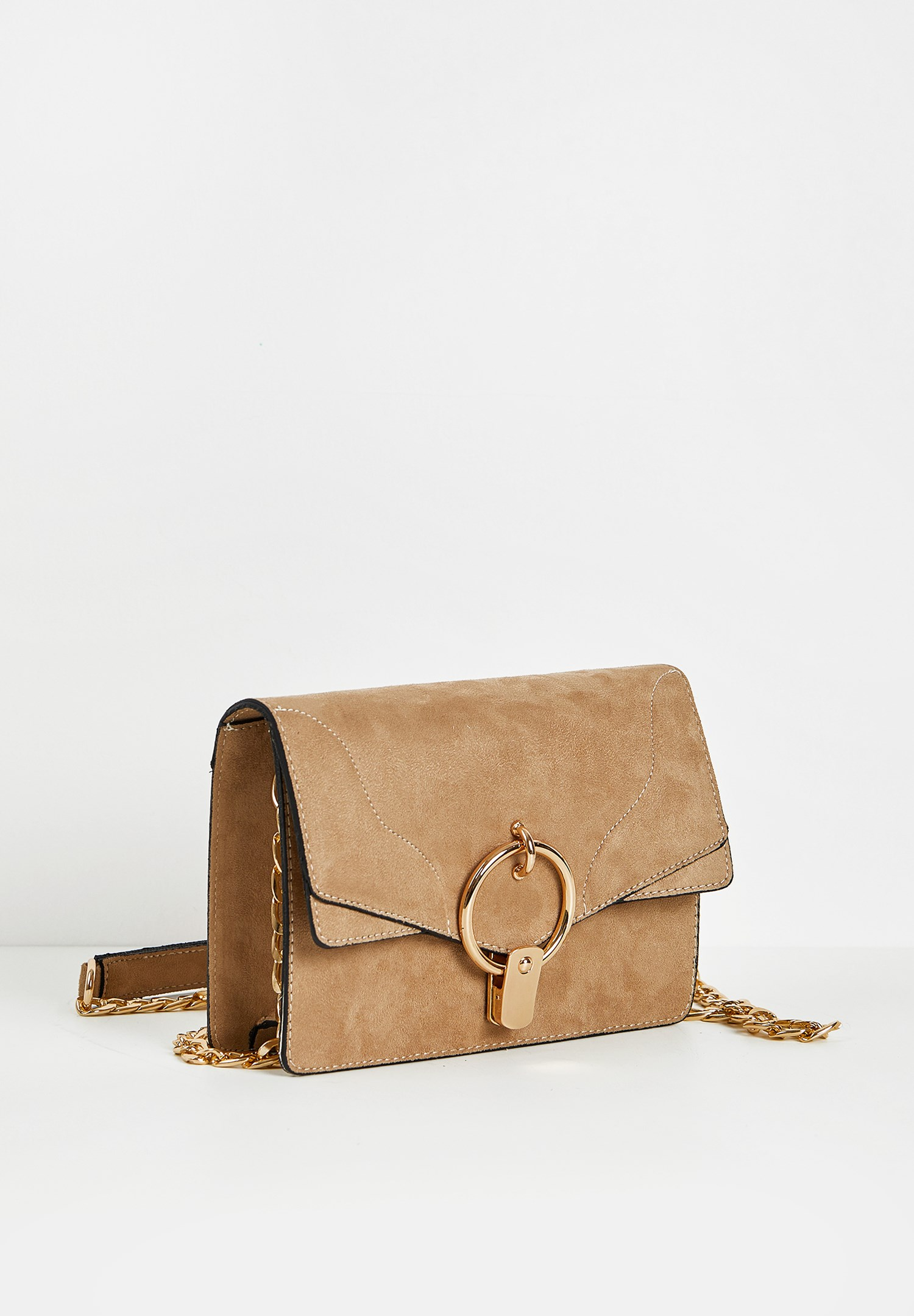 Women Cream Bag with Ring Buckle