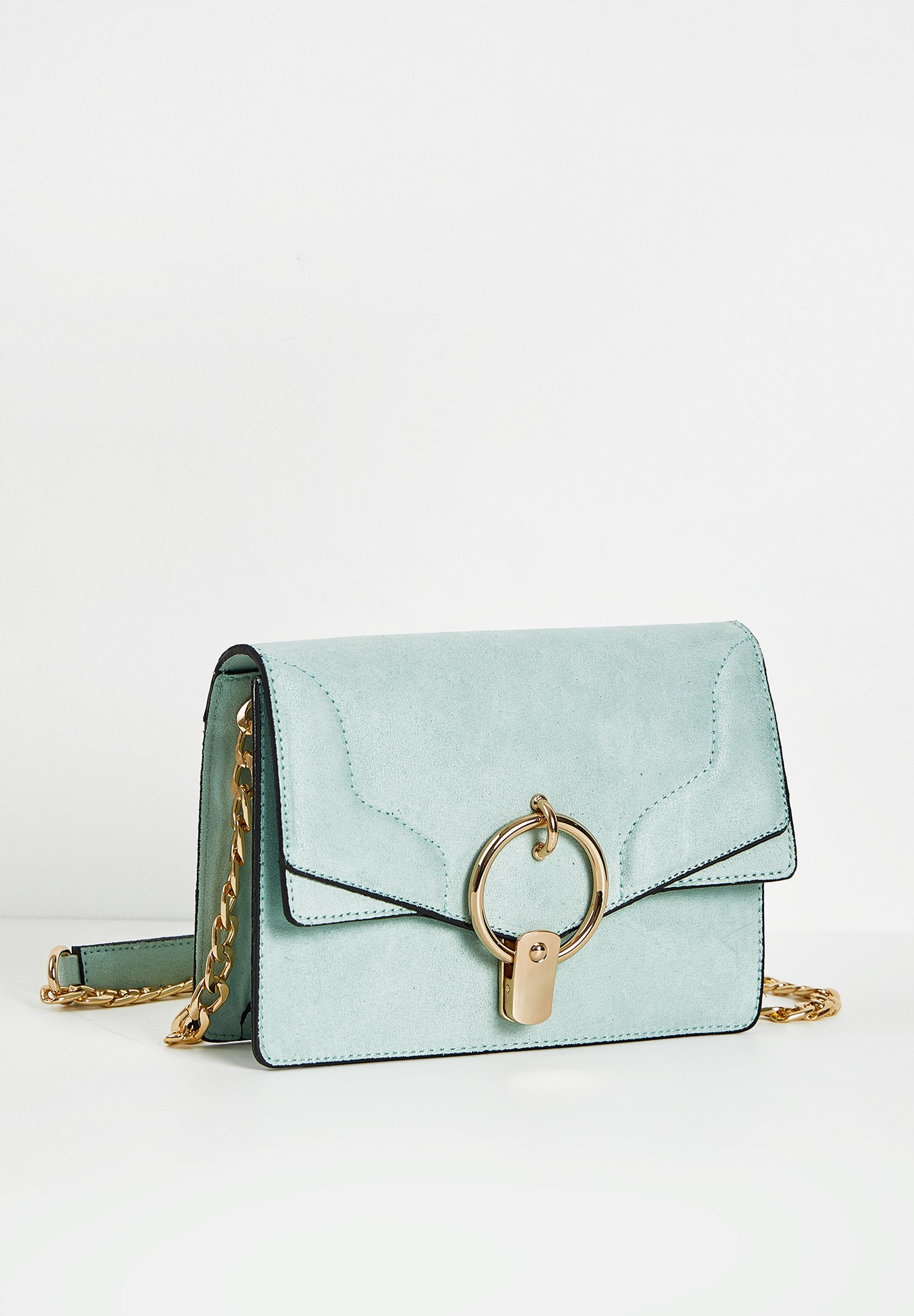 Women Blue Bag with Ring Buckle