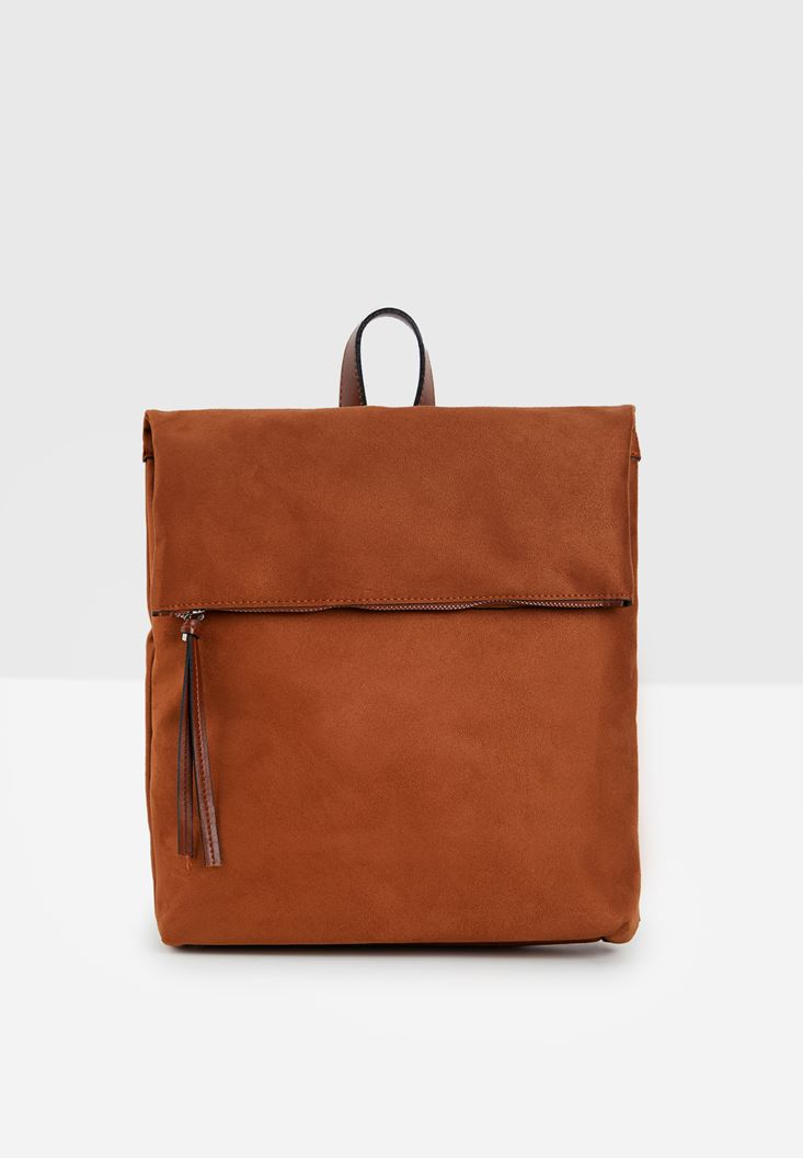 Brown Suede Backpack