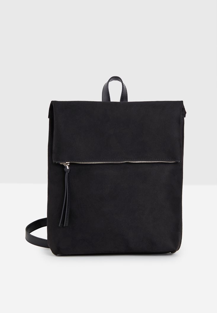 Black Suede Backpack