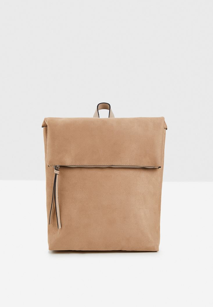 Cream Suede Backpack