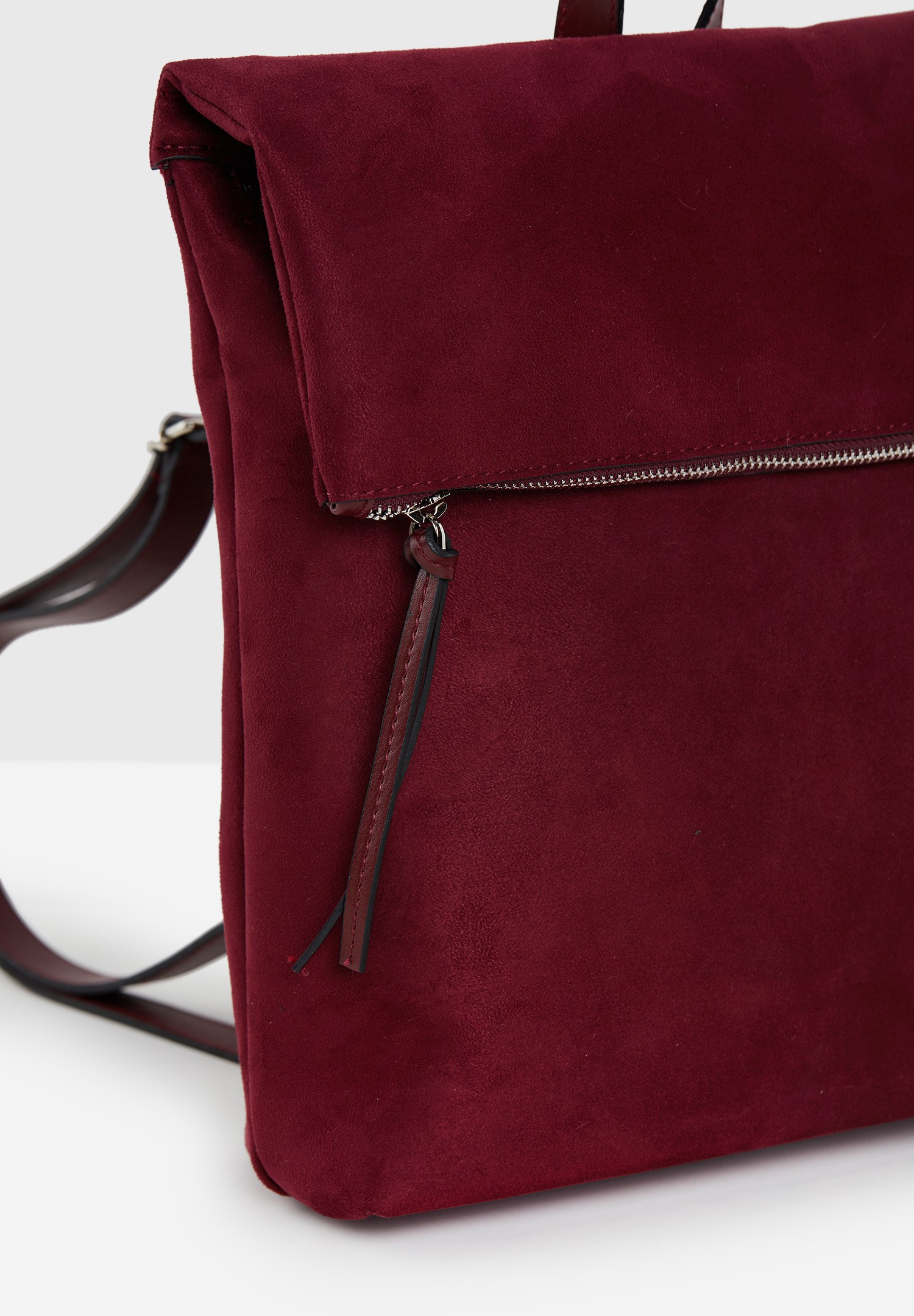 Women Bordeaux Suede Backpack