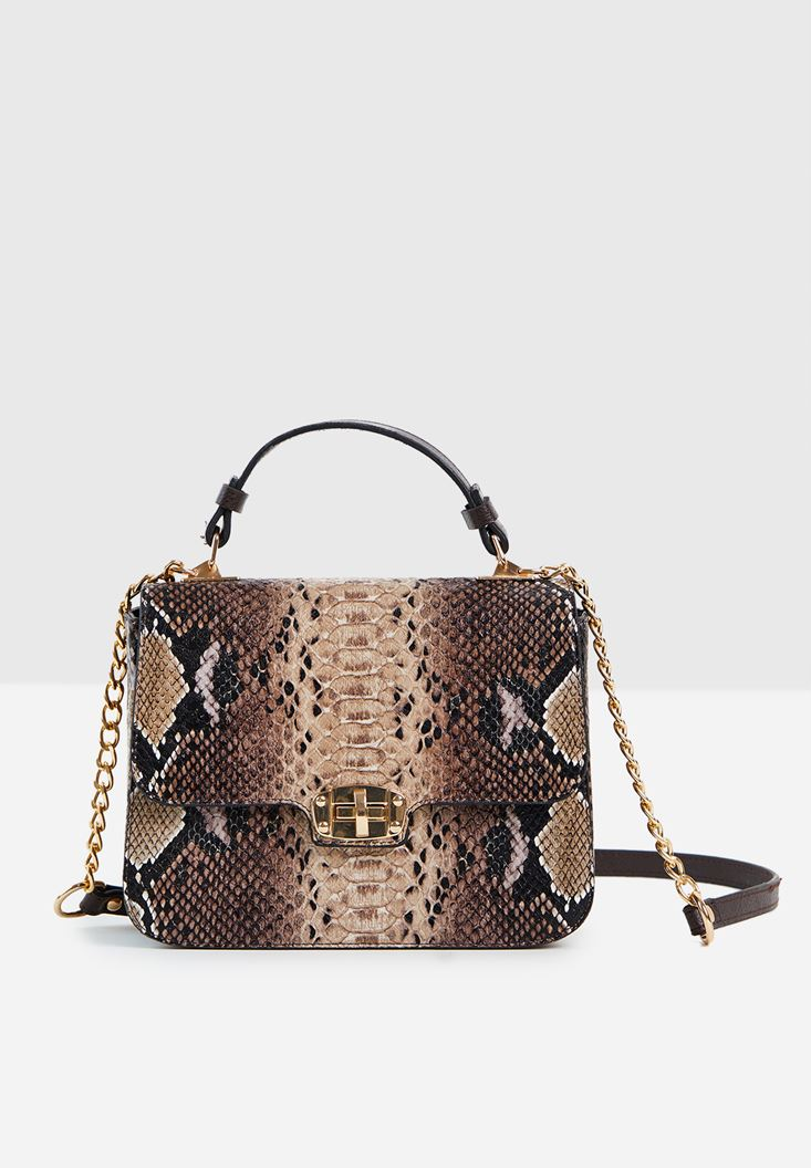 Brown Snakeskin Print Handbag