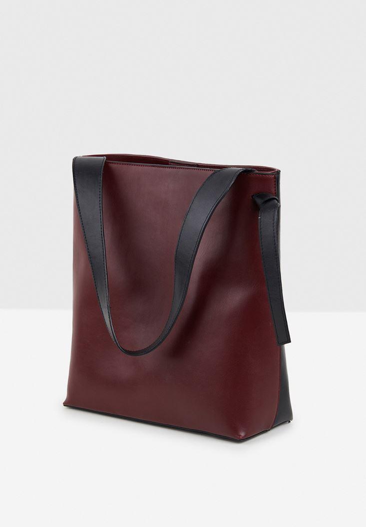 Siyah İki Renkli Askılı Çanta