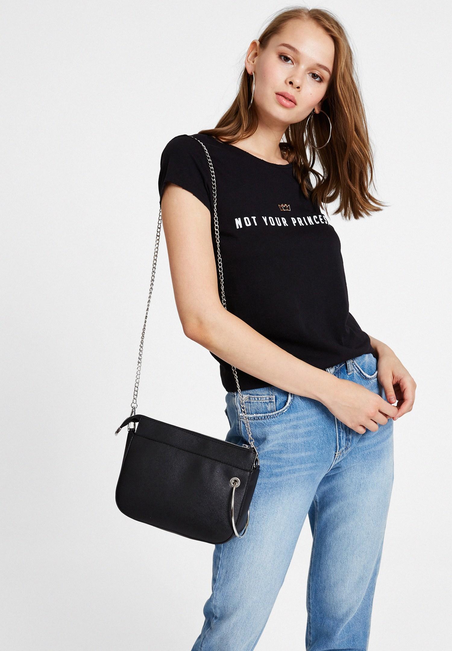 Women Black Zipper Detail Shoulder Bag