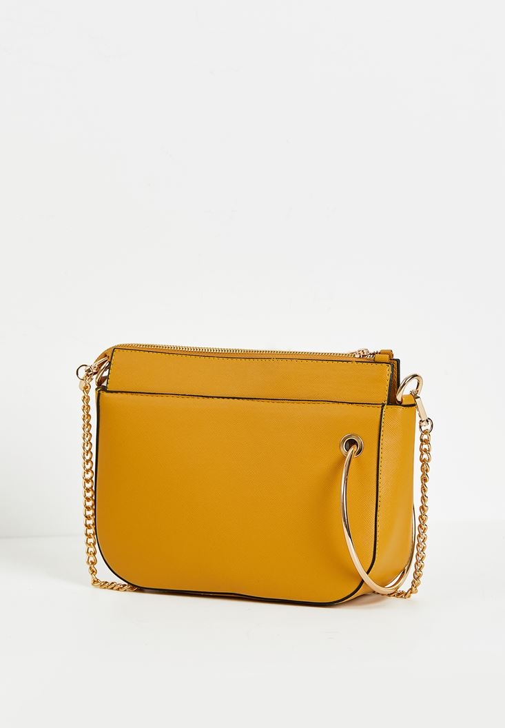 Yellow Zipper Detail Shoulder Bag
