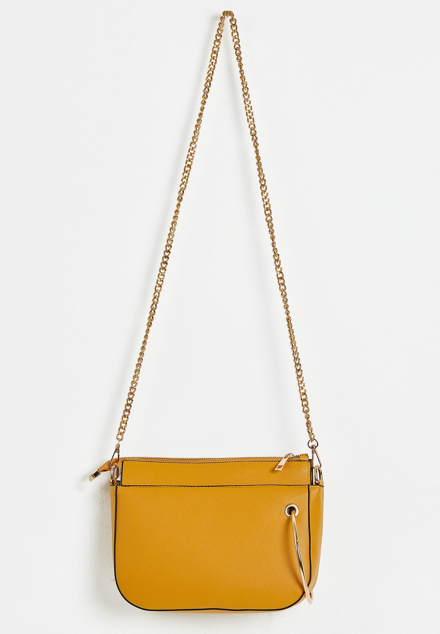 Bayan Sarı Zincir Askılı Fermuarlı Çanta