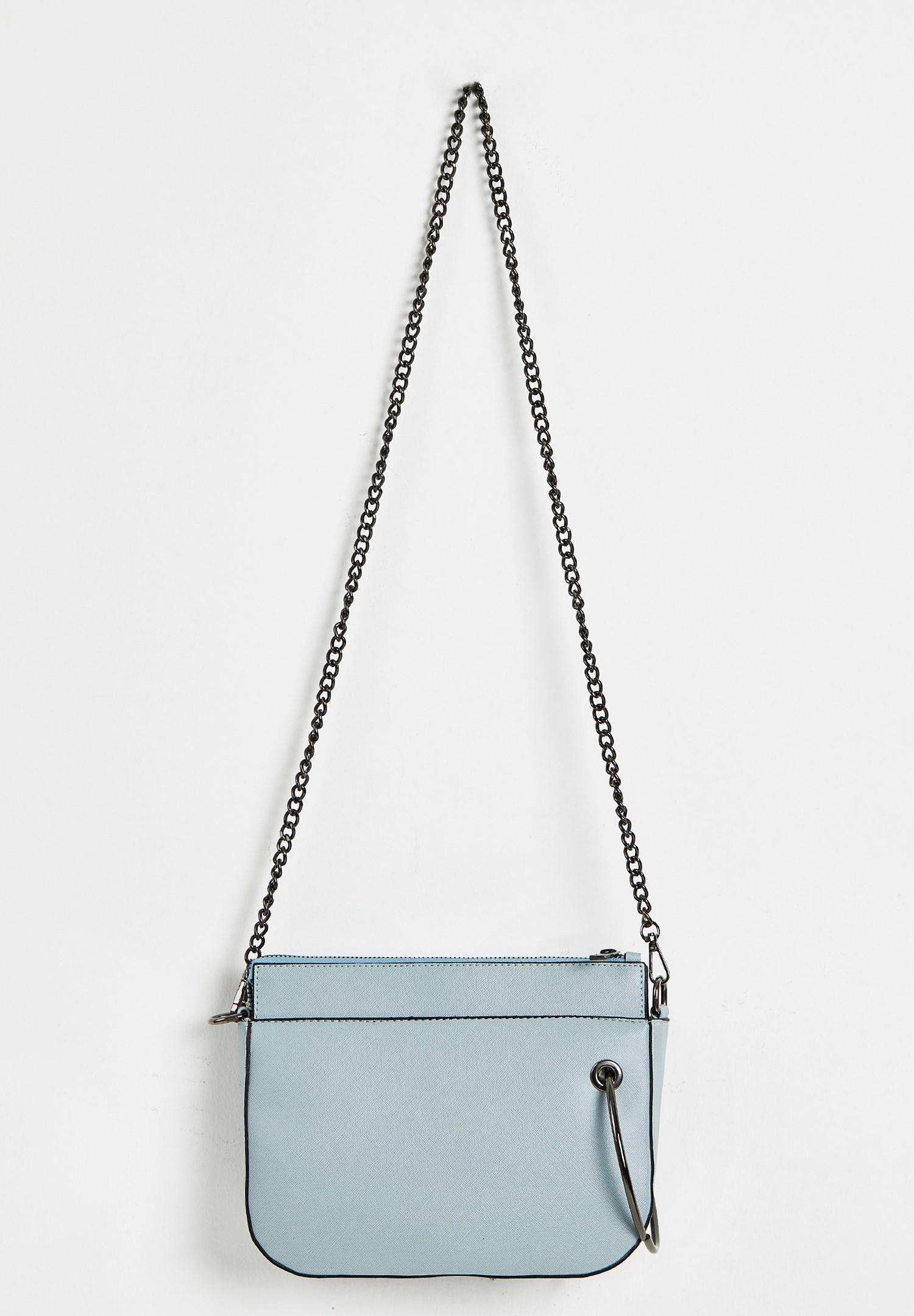 Bayan Mavi Zincir Askılı Fermuarlı Çanta