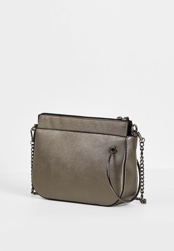 Grey Zipper Detail Shoulder Bag