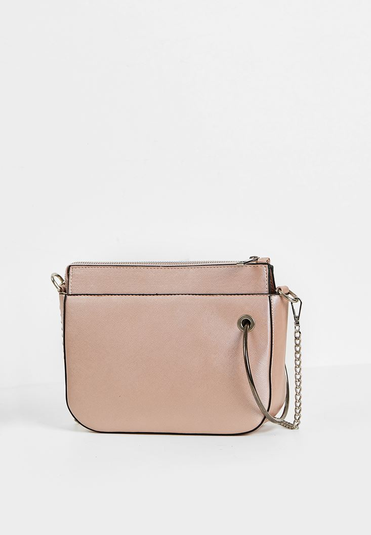 Pink Zipper Detail Shoulder Bag