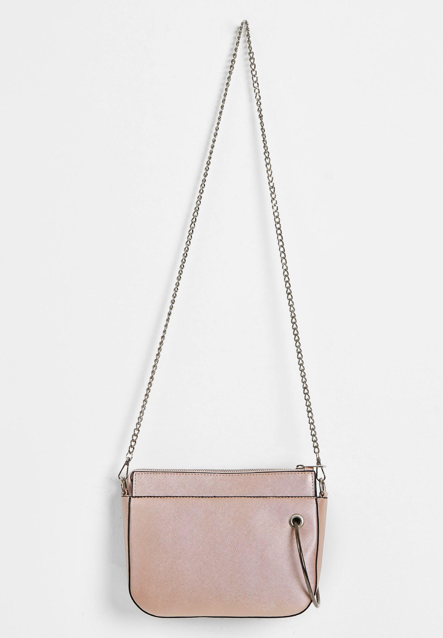 Women Pink Zipper Detail Shoulder Bag