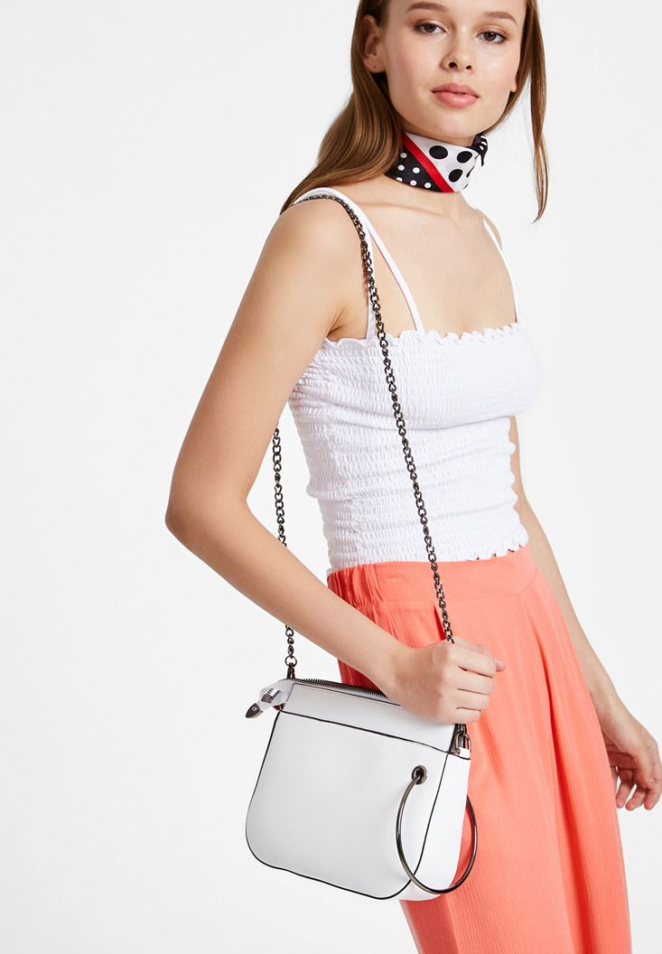 Zipper Detail Shoulder Bag