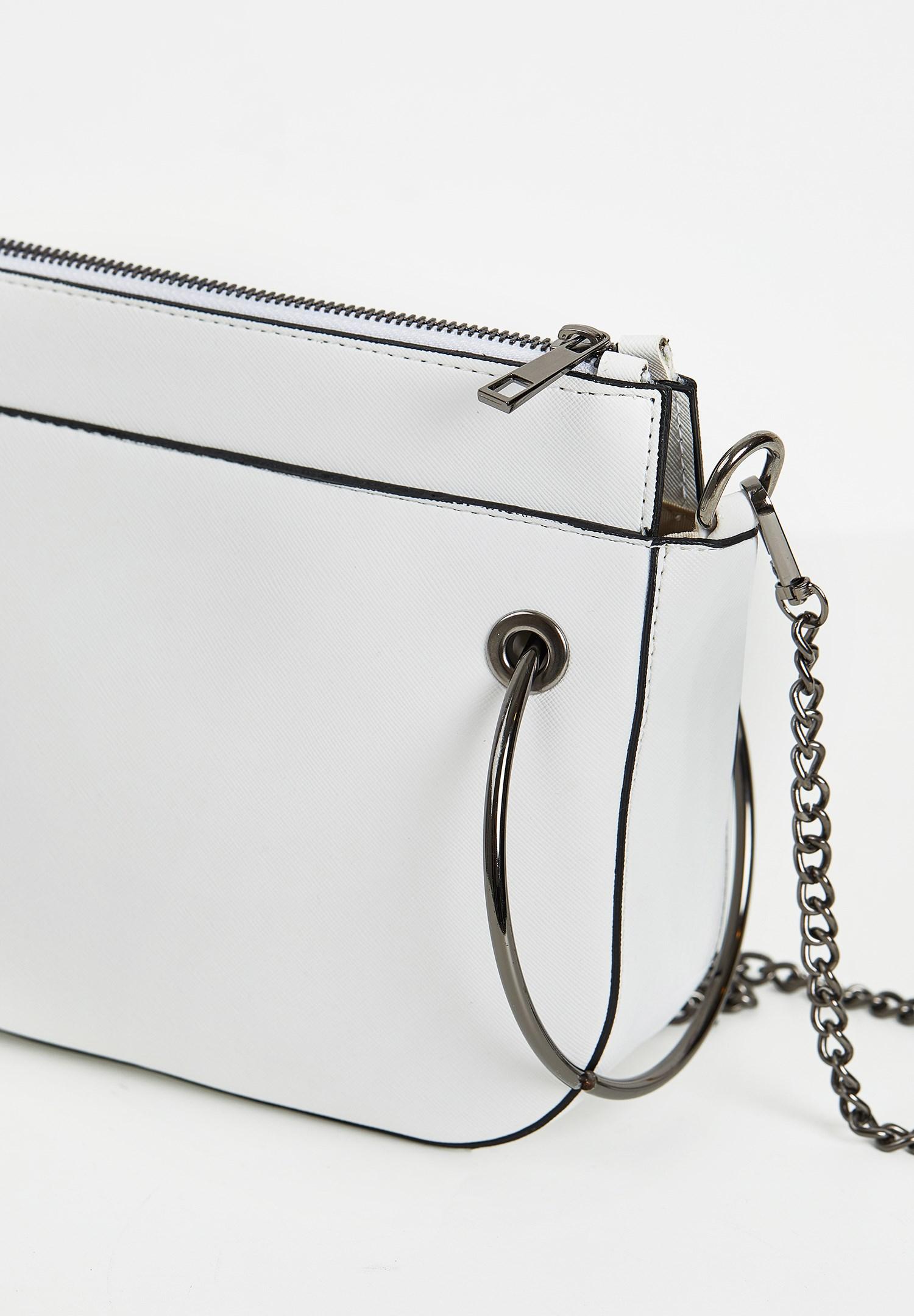 Women White Zipper Detail Shoulder Bag