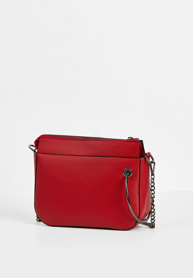 Red Zipper Detail Shoulder Bag