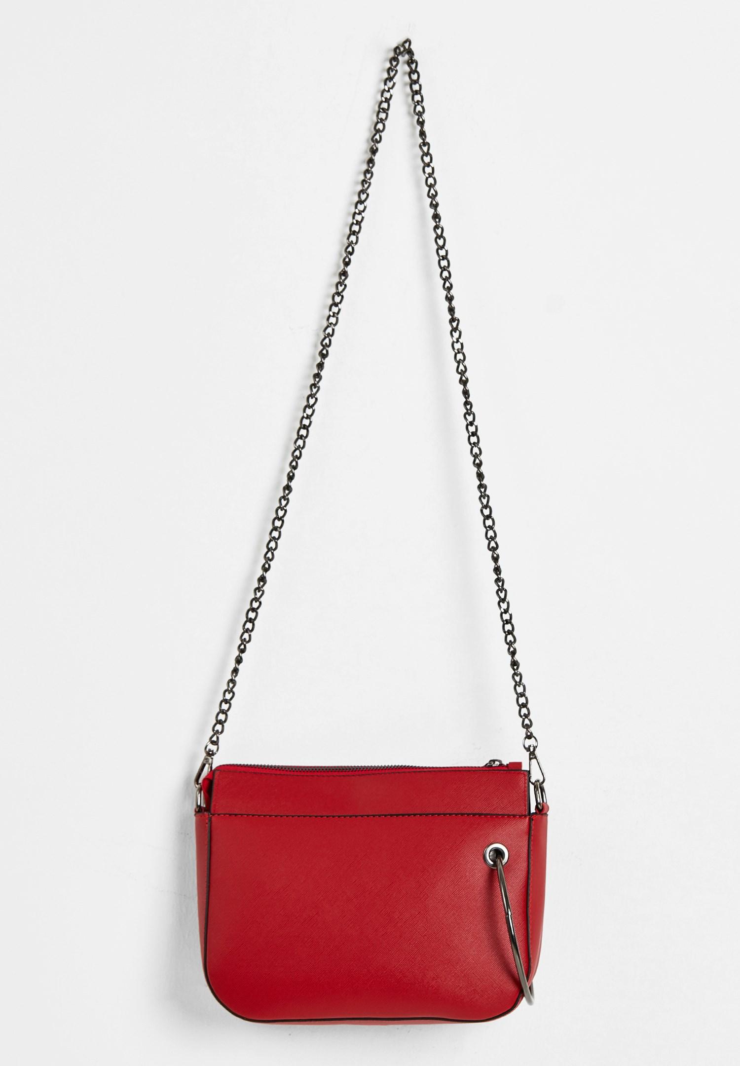 Bayan Kırmızı Zincir Askılı Fermuarlı Çanta