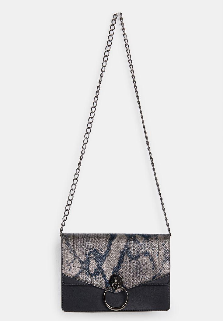 Black Snakeskin Print Handbag with Details