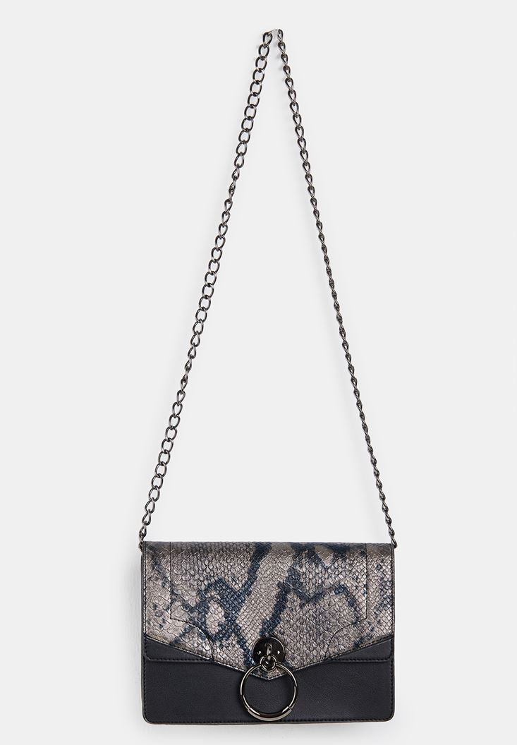 Black Snakeskin Print Handbag with Details