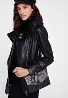 Women Black Snakeskin Print Handbag with Details