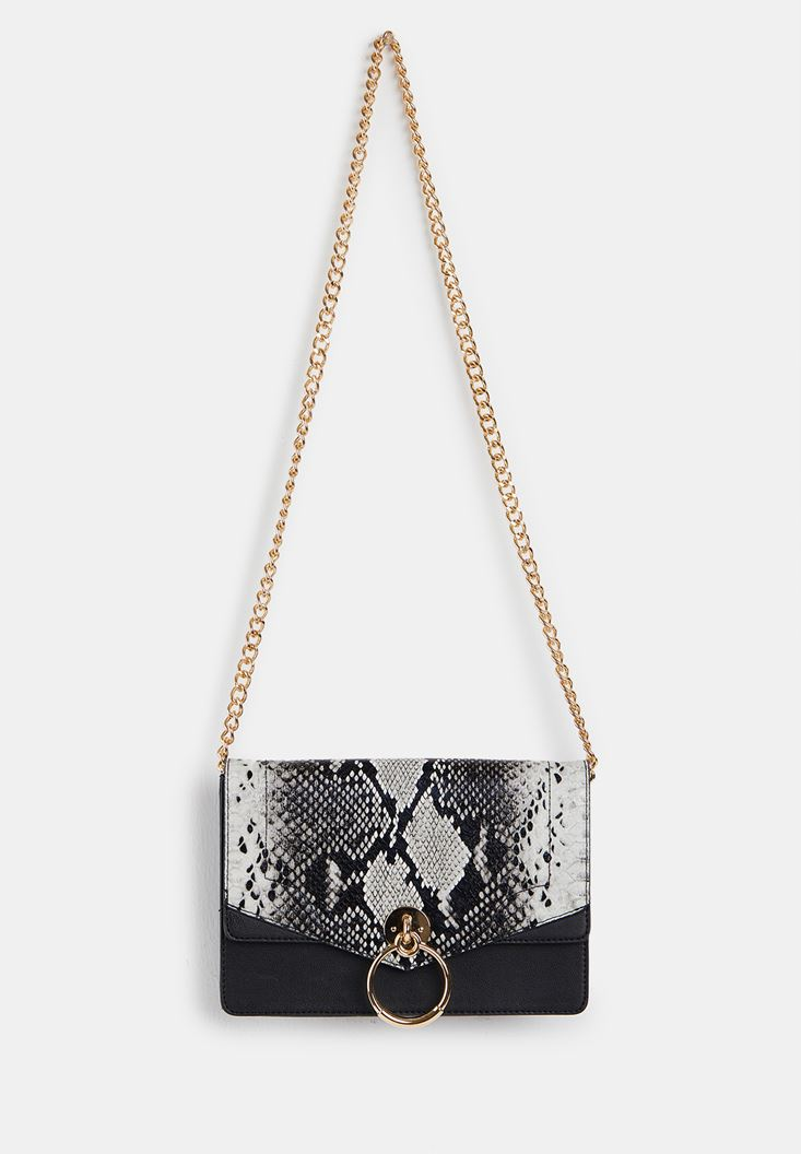 Mixed Snakeskin Print Handbag with Details